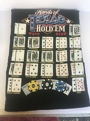 The hands of Texas Hold'Em Poker Game Black Graphic Print T Shirt Large New