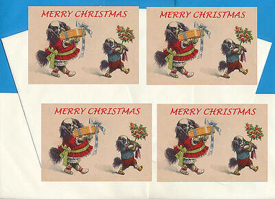 Japanese Chin Pack Of 4 Cards Dog Print Greeting Christmas Cards