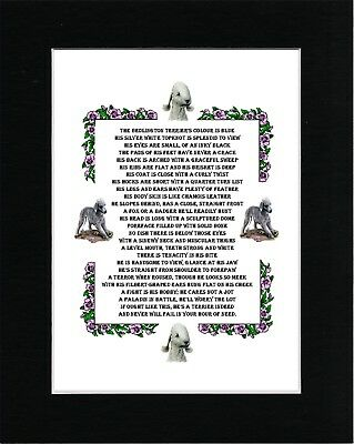 Bedlington Terrier Charming Poem Vintage Style Dog Art Print Ready Matted