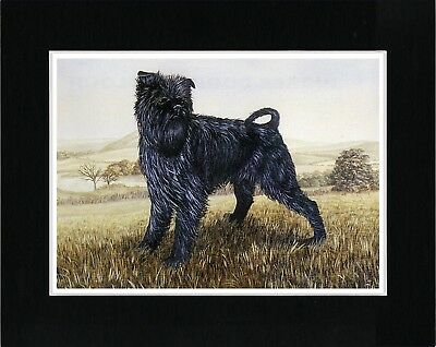 AFFENPINSCHER LITTLE DOG CARRIES LETTER CHARMING PRINT MOUNTED READY TO FRAME
