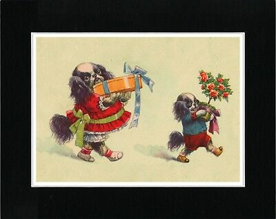 Japanese Chin Two Dogs With Gifts Lovely Vintage Style Dog Art Print Matted