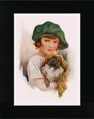 Girl With A Green Cap Holding Pekingese Vintage Style Dog Print Ready Matted