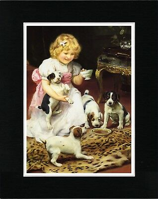 Jack Russell Fox Terrier Pups And Little Girl Vintage Style Dog Art Print Matted