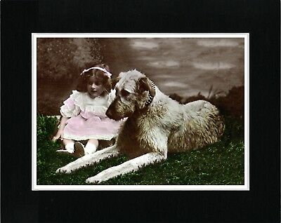 Irish Wolfhound And Little Girl Lovely Vintage Style Dog Art Print Ready Matted