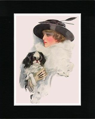 Japanese Chin And Pretty Lady With Feathers In Her Hat Lovely Dog Print Matted