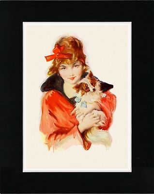 Pretty Lady Holding A Papillon Lovely Vintage Style Dog Art Print Ready Matted