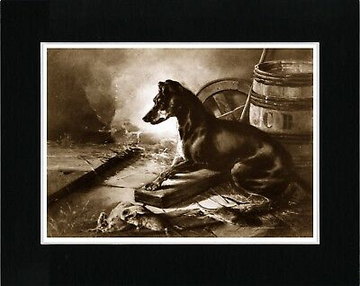 Manchester Terrier Vintage Style Sepia Dog Art Print Matted Ready To Frame