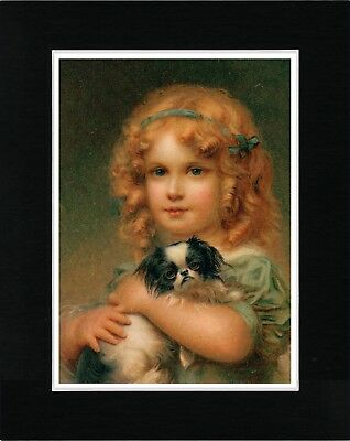 Little Girl Holding Japanese Chin Lovely Vintage Style Dog Print Ready Matted