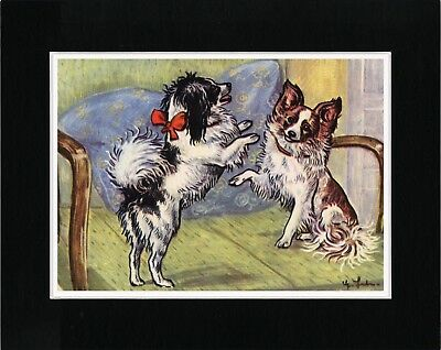 Papillon Dogs At Play Lovely Vintage Style Dog Art Print Matted Ready To Frame
