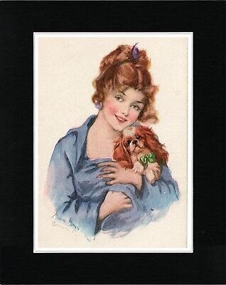Pretty Lady And Cavalier King Charles Toy Spaniel Vintage Style Dog Print Matted