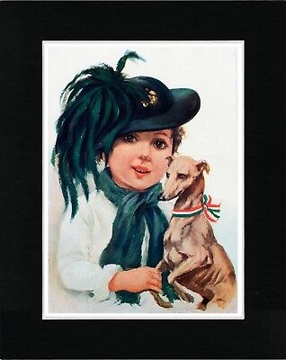Little Girl And Italian Greyhound Vintage Style Dog Art Print Ready Matted