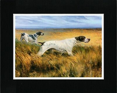 Pointer Dogs English Vintage Style Dog Art Print Ready Matted