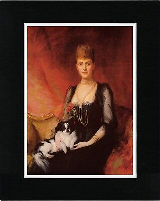 Queen Alexandra And Her Japanese Chin Vintage Style Dog Print Ready Matted
