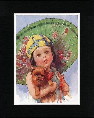 Little Girl With Parasol And Brussels Griffon Lovely Dog Art Print Ready Matted