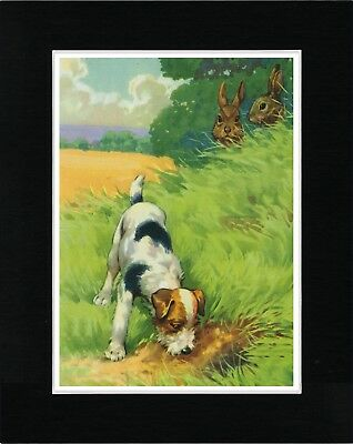 Wire Fox Terrier Searches For Rabbits Vintage Style Dog Print Ready Matted