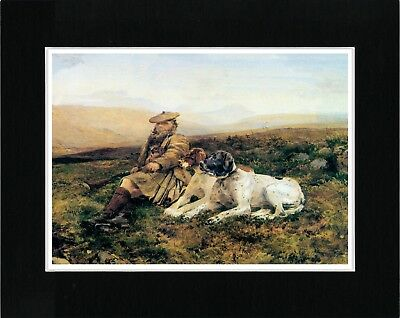 Scottish Gamekeeper And Pointer Dogs Vintage Style Dog Art Print Ready Matted