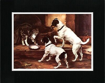 Smooth Fox Terrier Dogs And Cat Vintage Style Dog Art Print Ready Matted