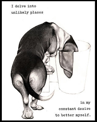 Basset Hound Delving Into Rubbish Bin Lovely Comic Dog Art Print Poster