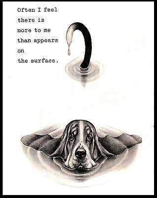 Basset Hound Mostly Under Water Lovely Comic Dog Art Print Poster