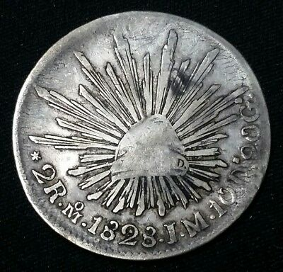 1828 Mexico 2 Reales Mo J.M. Silver Coin Free Shipping!