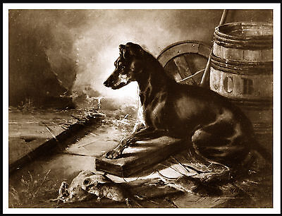 Manchester Terrier Lovely Vintage Style Sepia Image Dog Art Print Poster