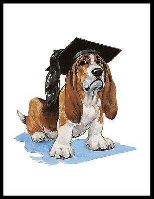 Basset Hound Wearing Graduation Mortar Board Lovely Dog Art Print Poster