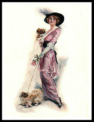 Pretty Lady And Her Pekingese Dogs Lovely Vintage Style Dog Art Print Poster