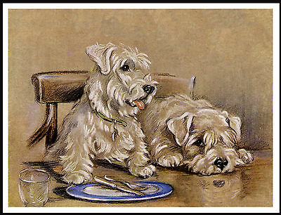Sealyham Terrier Two Dogs At Table Lovely Dog Print Poster