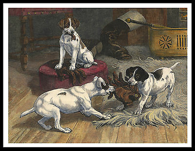 Jack Russell Smooth Fox Terrier Pups Tear Gloves Vintage Style Dog Print Poster