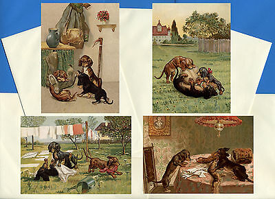 Dachshund Pack Of 4 Vintage Style Dog Print Greetings Note Cards #3