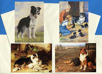 Border Collie Pack Of 4 Vintage Style Dog Print Greetings Note Cards #2