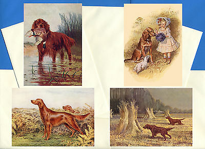 Irish Setter Pack Of 4 Vintage Style Dog Print Greetings Note Cards #1