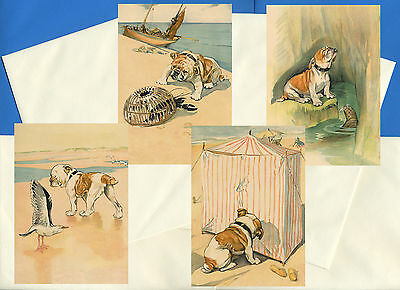 English Bulldog Pack Of 4 Vintage Style Dog Print Greetings Note Cards #4
