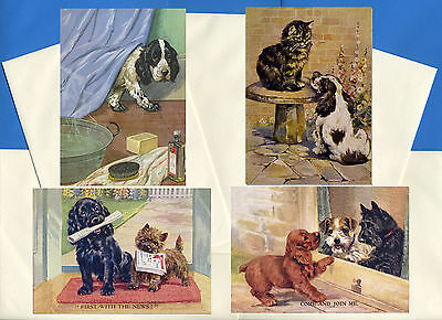 Cocker Spaniel Pack Of 4 Vintage Style Dog Print Greetings Note Cards #5