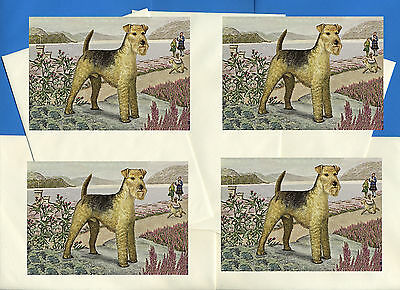 Lakeland Terrier Pack Of 4 Vintage Style Dog Print Greetings Note Cards