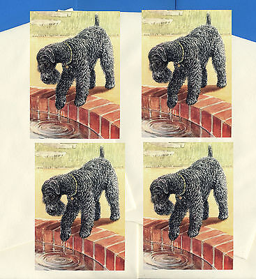 Kerry Blue Terrier Pack Of 4 Vintage Style Dog Print Greetings Note Cards