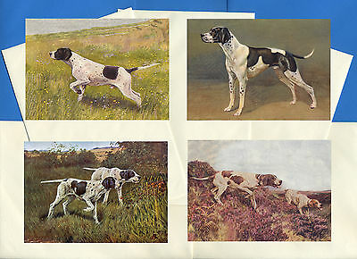 Pointer Pack Of 4 Vintage Style Dog Print Greetings Note Cards #2