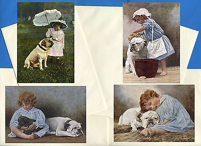English Bulldog Pack Of 4 Vintage Style Dog Print Greetings Note Cards #1