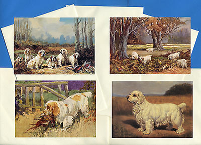 Clumber Spaniel Pack Of 4 Vintage Style Dog Print Greetings Note Cards #1