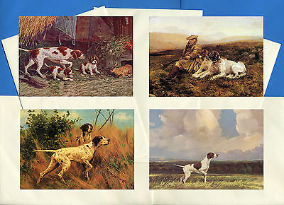 Pointer Pack Of 4 Vintage Style Dog Print Greetings Note Cards #1