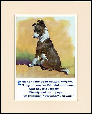 Border Collie Pup And Charming Verse Dog Print Mounted Ready To Frame