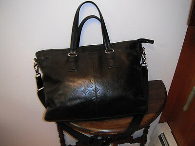 COACH Tote Bag Signature Embossed Leather Briefcase Handles & Shoulder Strap