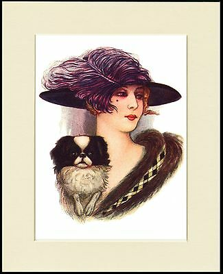 Japanese Chin Pretty Lady Wearing Large Hat Dog Print Mounted Ready To Frame
