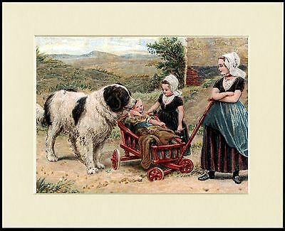 NEWFOUNDLAND DOG AND LITTLE GIRLS CHARMING PRINT MOUNTED READY TO FRAME