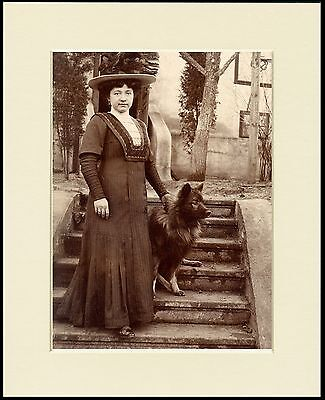 Keeshond And Lady Lovely Old Time Sepia Image Dog Print Mounted Ready To Frame
