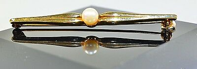 classic 9 ct Gold and Pearl pin brooch 2.2 g 2 inches