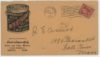 Mr Fancy Cancel 2c ILLUSTRATED AD COVER BEST PREPARED PAINT BOSTON MASS 1905