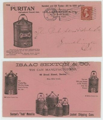 Mr Fancy Cancel 2c ILLUSTRATED 2-SIDED AD COVER TIN CAN MANUFACTURER BOSTON 1899