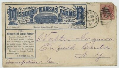 Mr Fancy Cancel 2c ILLUSTRATED AD COVER MISSOURI KANSAS FARMER MAGAZINE 1891