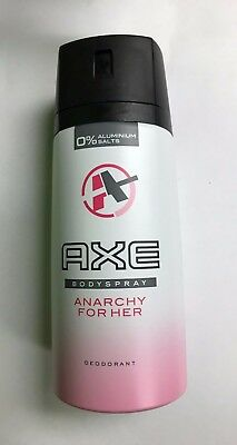 "AXE ""Anarchy For Her"" Deodorant Women Body Spray 150mL Ea. (Lot of 2 Cans)"